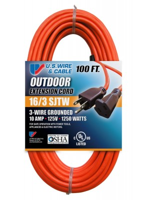 300V EXTENSION CORD LENGTH, 100' WIRE GAUGE/CONDUCTOR: 16/3