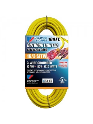 """THREE CONDUCTOR GROUNDED TEMP-FLEX-35TM YELLOW CORD WITH """"POWER-ON"""" ILLUMINATED PLUG - 300V 16/3 X 100FT"""
